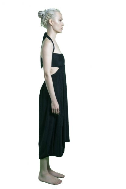 side of black bamboo dress